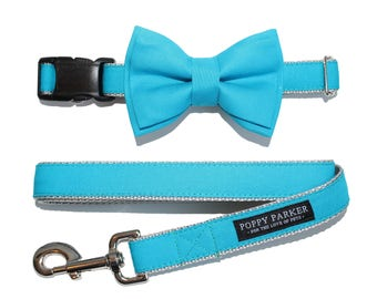 Turquoise Dog Collar with Removable Layered Bow Tie by Poppy Parker Market - Malibu Teal Blue