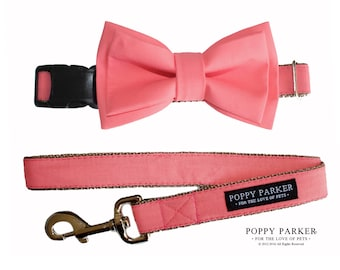 Coral Pink Layered Dog Bow Tie Collar and Leash - Pink Coral Reef - Pantone Color of the Year