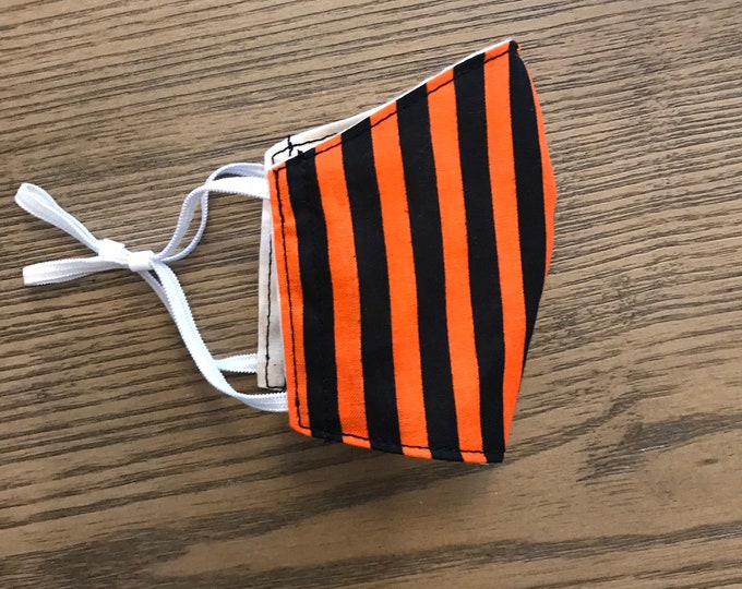 Black Orange Stipe Halloween Face mask, cotton face mask, fabric mask, adjustable straps