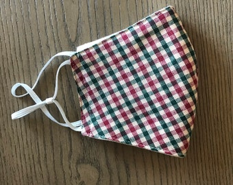 Red Green New England gingham Plaid check Face mask, christmas mask