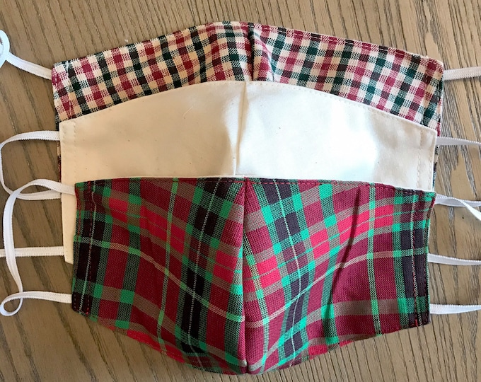 Christmas Tartan Plaid 3 Pack, cotton face mask, fabric mask, adjustable straps