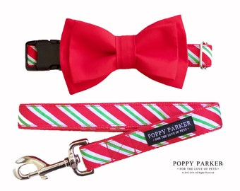 Christmas Bow Tie For Dog - Christmas Gift - Pet Gift - Striped Collar with Red Bow Tie - Leash optional