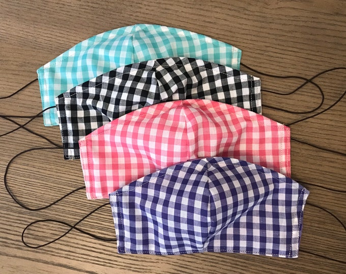 Double Sided Gingham Choice Face mask, cotton face mask, fabric mask, metal nose piece, adjustable straps