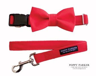 Red Dog Bow Tie - Optional Dog Collar and Leash - Collar Bow Tie - Christmas Party Decor