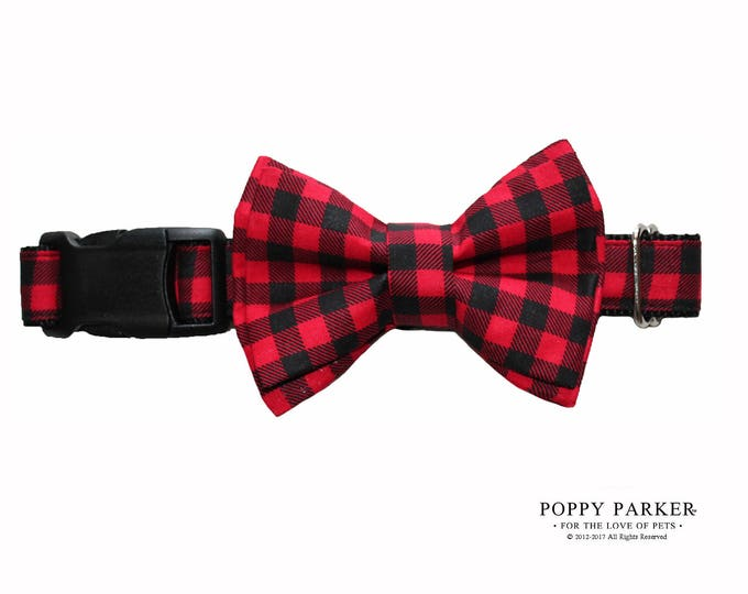 Christmas Buffalo Plaid Dog Layered Bow Tie - Optional Matching Dog Collar and Dog Leash - Shop Small