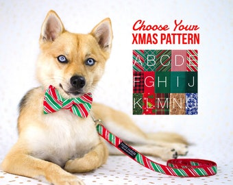 Christmas Layered Bow Tie Dog Collar With Optional Leash - Choose Your Pattern