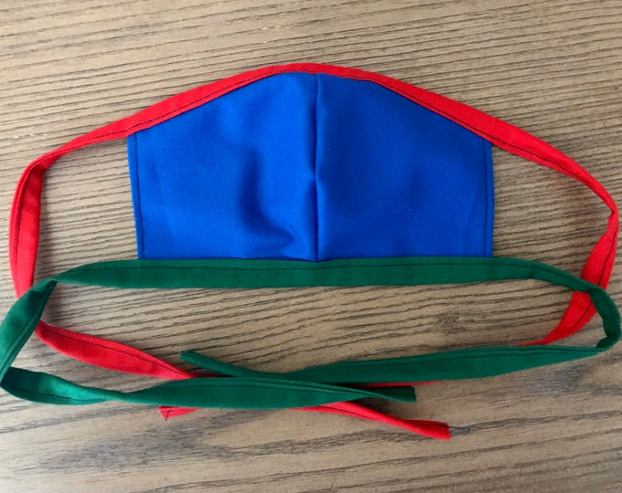 Youth Double Sided Red Green Blue Primary Colors Face Mask With Tie, cotton face mask, fabric mask