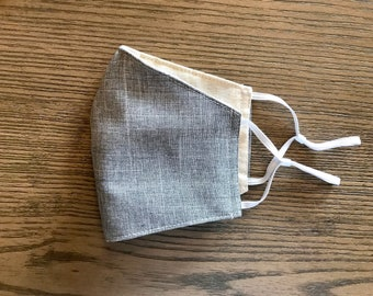 Light Gray and Taupe Face mask, cotton face mask, fabric mask, adjustable straps