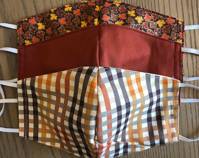 Thanksgiving Fall Colors 3 Pack, cotton face mask 3 pack, fabric mask, adjustable straps