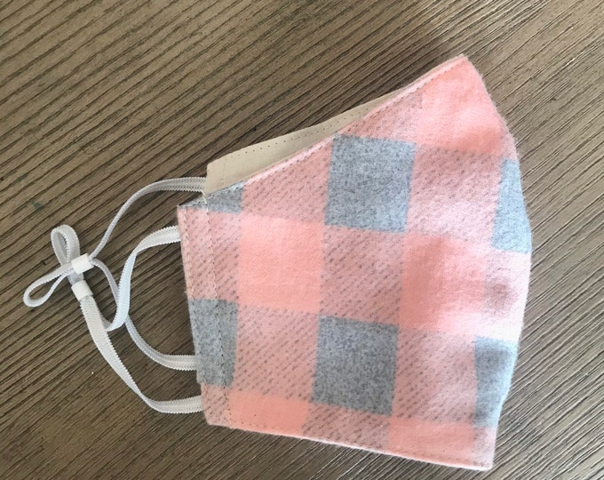 Soft Pink Gray Flannel Plaid Face mask, cotton face mask, fabric mask, adjustable straps