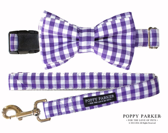 Purple GIngham Layered Dog Bow Tie Collar and Leash - Dog in Wedding