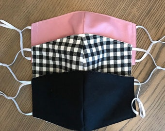 Black Mauve Gingham 3 Pack, cotton face mask