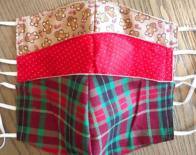 Festive Christmas Pattern 3 Pack, cotton face mask, fabric mask, adjustable straps, red polka, gingerbread, tartan