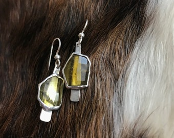 "The ""Dana"" earring, each is 3.5 carates of citrine stone set on a strip of sterling silver fringe"
