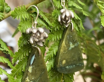 Alice earring: Medium sized Silver Succulent and a triangle shaped Serpintine stone pair of earrings