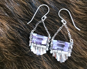 "The purple toned fluorite and lepodite cube bead ""Carmine"" earring has handforged silver fringe, chain and earwires"