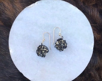 Leesa earring: Dalmatian jasper bead wrapped with black wire and sterling silver earwire