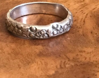 Alicia ring Handmade, stackable, sterling silver band ring textured with a circle pattern, 3 mm wide band