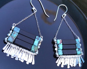 "The ""Carmine"" earring: blackstone, silver faceted  beads, naturl turquoise cube beeds with hammered silver fringe, sterling silver chain"