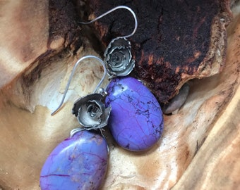 Alice earring: Medium sized Silver Succulent and a teardrop shaped purple colored agate stone pair of earrings