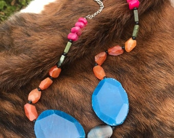 The Wilma necklace: chalcedony, blue lapis, agate and orange quartz, adjustible length 12 inch to 24 inches long