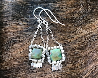 "The ""Carmine"" earring: green jasper and ruby flecks, silver plated faceted beads, silver wire fringe, chain and earwires"