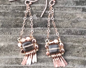 "The ""Carmine"" earring: hammered 14k rose gold fringe, smokey grey quartz, rose gold plated beads, chain and hooks"