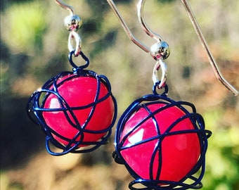 Leesa earring: Fuschia colored Jade Wrapped in Blue Wire with silver earwires