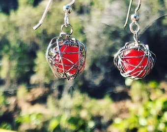 Leesa earring: Recycled red glass bead wrapped with silver plated wire and sterling silver earwire