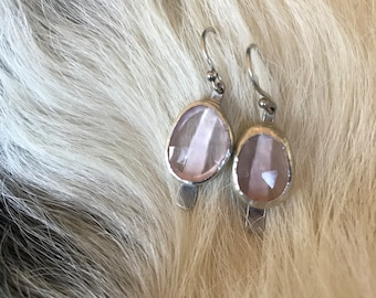 "The ""Dana"" earring,  two medium sized rose quartz stone set on a strip of sterling silver fringe"