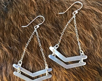 Double chevron silver drop earrings