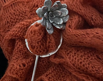 The Alice Silver casted Succulent stick pin and silver circle, two piece shawl pin fastener