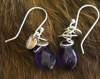 The Kierin earring silver discs and purple amethyst briolette bead with silver fish hooks
