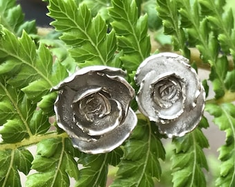 Alice stud earring is a medium casted Silver Succulent on a post