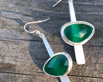 "The ""Dana"" earring, each is 7.6 carates of green onyx stone set on a strip of sterling silver fringe"