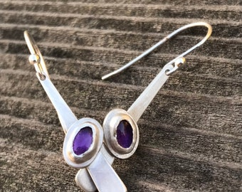 "Amethyst ""Dana"" earring,  two 6x4mm smooth cut amethyst stones set on a strip of sterling silver fringe handset and handcut silver earring"