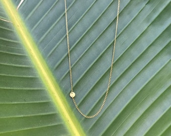 22k gold round dot necklace with gold fill 18 inch chain