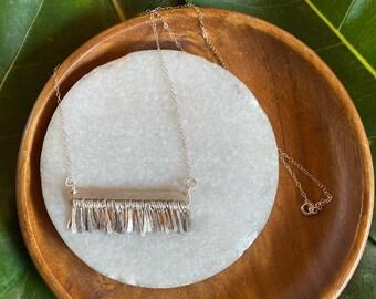 """Vivian necklace sterling silver metal fringe bar necklace 20"""" length"""