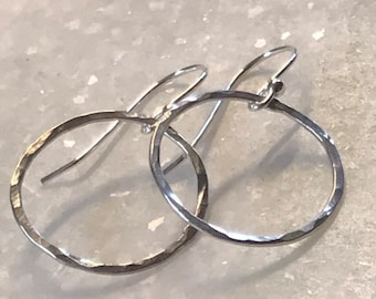Sterling silver wire hoops, lightly forged 3/4 inch, 18 gauge wire
