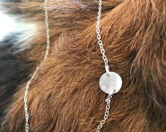 Fine silver round dot necklace with sterling silver 18 and 1/2 inch chain