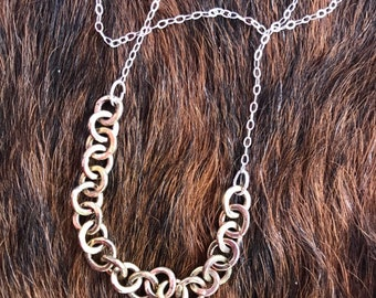 Sterling silver chain with 14k gold fill center links necklace