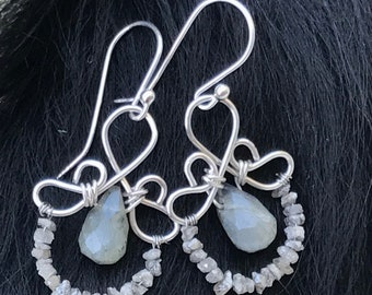 The Emma earring: hand formed sterling silver wire with a labradorite teardrop bead and a string of rough diamond beads