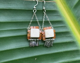 "The ""Carmine"" earring: white riverstone, orange colored carnelian cube beads with hammered silver fringe"