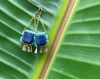 "The ""Carmine"" earring: blue lapis, teal glass cube beads and gold chain with hand forged gold fringe"