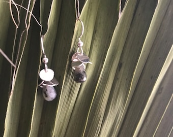"The labadorite ""Kierin"" earring with silver discs and labadorite calcedony briolette bead with silver fish hooks"
