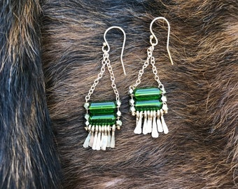 "The Green Glass ""Carmine"" earring made of green glass tube beads, Brass multi faceted beads, hand forged gold forged fringe and ear wires"