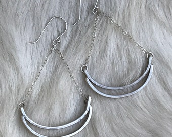 Double arc silver drop earrings