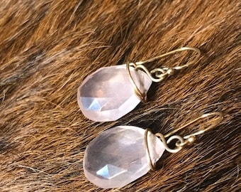 Darla earring: rose quartz teardrop shaped earring with gold fillwire and earwire