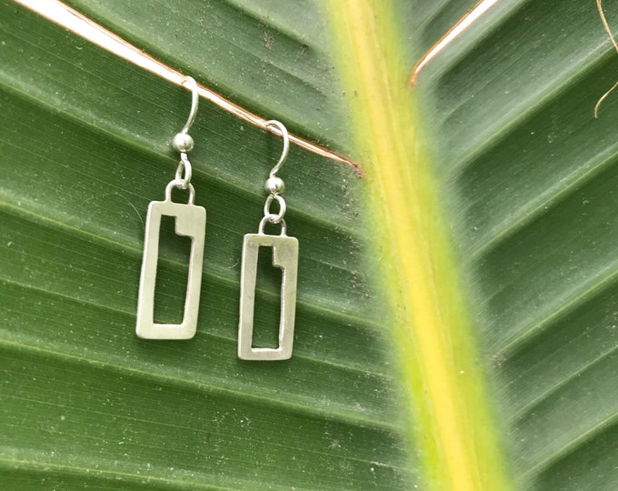Featured listing image: The iconic  handmade SquareColored earring, sterling silver rectangle with geometric cutout
