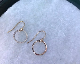 14k Gold fill wire hoops, lightly forged 1/2 inch, 18 gauge wire